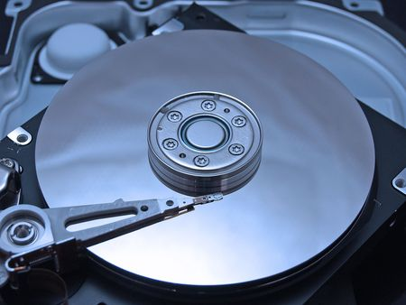 cd rom: Internal disc of hard drive in blue colors