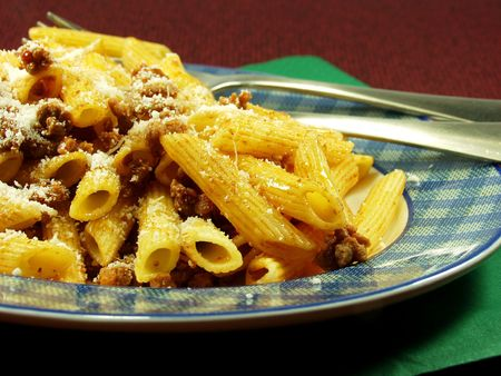 Macaroni Bolognese on dish. Perfect Italian Food photo