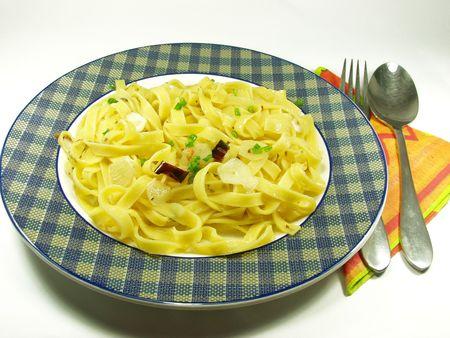 Pasta Puttanesca  . Fresh italian food. photo