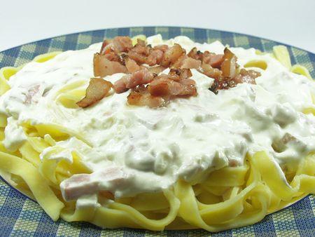 Carbonara�s Noodles. Fresh italian food photo