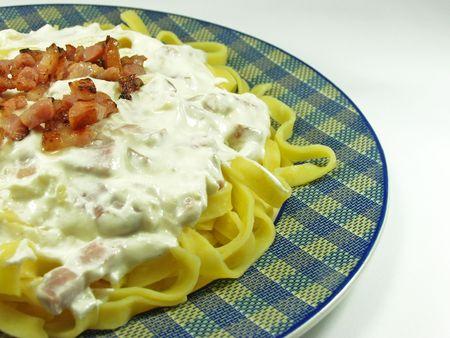 Carbonara�s sauce noodles. Fresh italian food photo