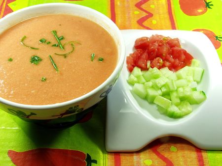 Gazpacho soup a cold, Spanish liquid salad that is popular in warmer areas and during the summer. Andalusian food and drink photo