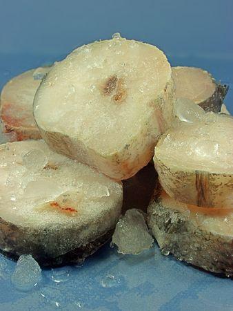 restaurateur: Eminc� de merlu sur la glace Banque d'images