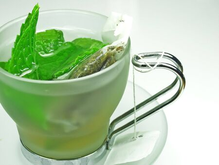 robustness: green tea whit mint on a cup
