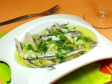 anchovy: spanish tapas: anchovy whit olive oil and vinegar