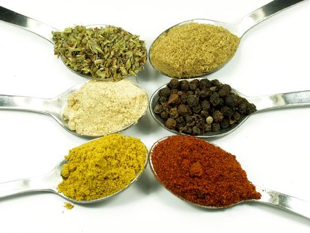 appetize: collection of spices on spoons