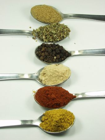 appetize: teaspoons whit different spices Stock Photo