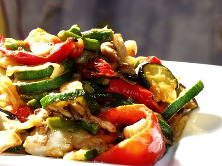 Asian-style stir-fry cooking vegetables Stock Photo - 603364