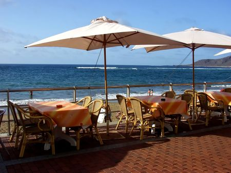 outdoor cafe: restaurant outdoor furniture in the beach Stock Photo