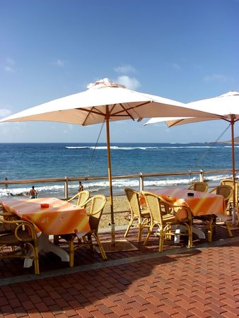 restaurant outdoor furniture in the beach Stock Photo
