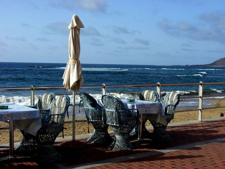 restaurant outdoor furniture in the beach photo