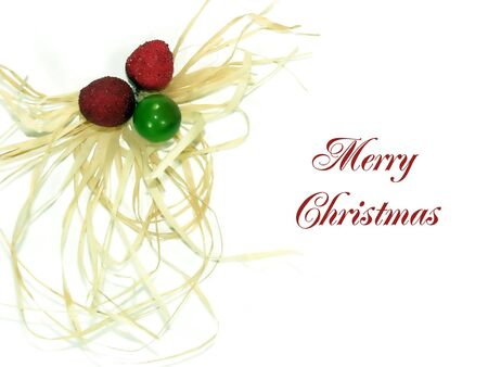 christams card whit merry christmas title on white background Stock Photo - 641808