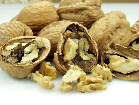 vulva: twice broken walnut whit whole walnuts on white