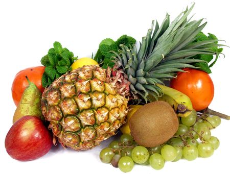 selection of tropical fresh fruits on white background