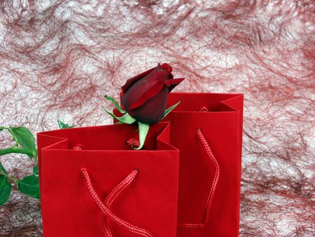 red bag for gift with red rose for valentineandamp,acute,s day photo