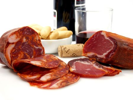 spanish tapas: assorted spanish tapas, ham and pork spiced with red wine Stock Photo
