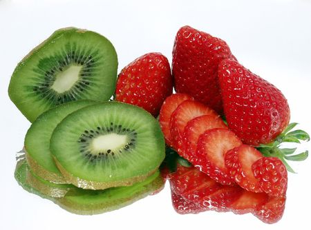Fresh strawberry and kiwi on mirror background with full reflection Stock Photo - 723684