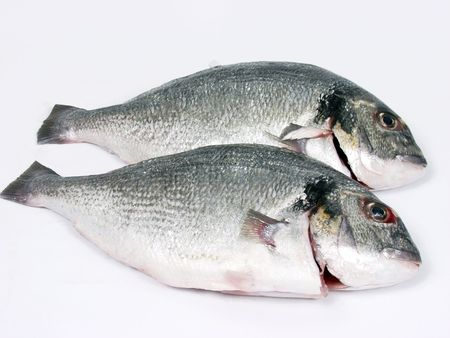 gill: two fresh Fish for sale in the market Stock Photo