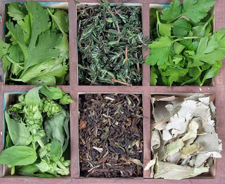 appetize: Assortment of herbs and aromas for prepare tasty food on wooden box.