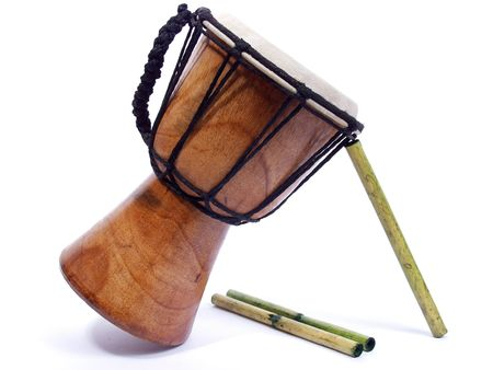 bongo drum: sticks of green bamboo wood on white background with bongo drum Stock Photo