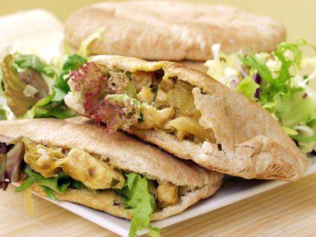 exquisite pita bread with chicken and salad Stock Photo