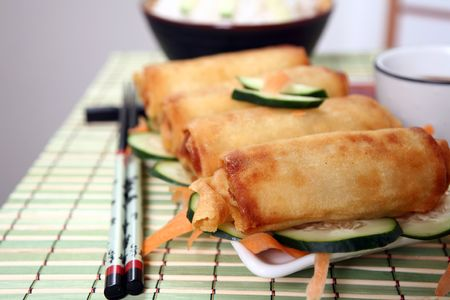 Crispy Chinese egg rolls with soya sauce for dipping. Stock Photo - 809783