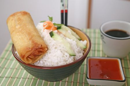 Crispy Chinese egg rolls with soya sauce for dipping. Stock Photo - 809780