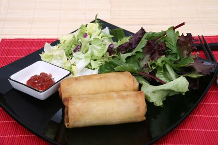 Crispy Chinese egg rolls with differents lettuce salad Stock Photo - 827140