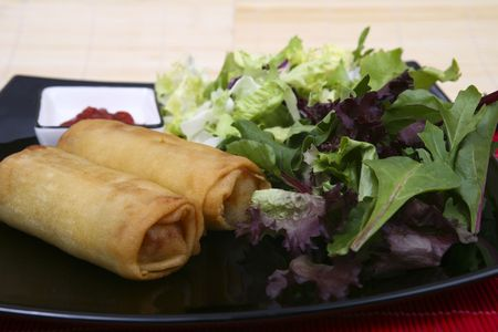Crispy Chinese egg rolls with differents lettuce salad Stock Photo - 835000