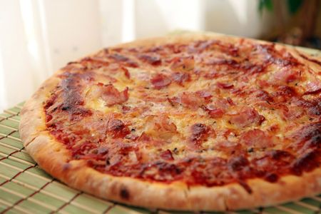delicious bacon and cheese pizza photo