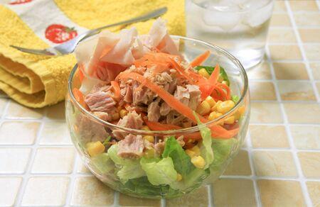 healthy tuna and york salad on glass bowl Stock Photo - 864559