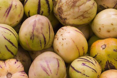 asian pear: a box of tropycal asian pear fruit Stock Photo