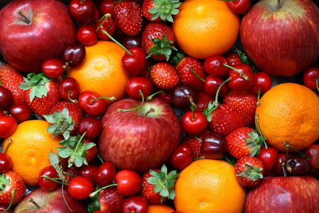 set of differents fresh fruit on top view Stock Photo