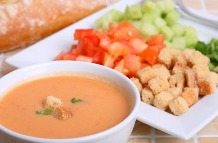 Gazpacho is cold soup tipycal Spanish cream that is popular in warmer areas and during the summer. Andalusian food and drink Stock Photo