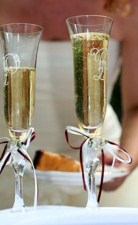 Dos copas de champan boda  Foto de archivo - 1229496