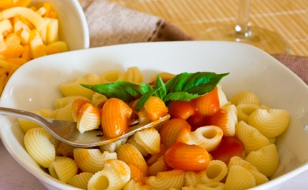 a platter of italian pasta with tomato sauce Stock Photo - 1483589