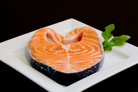 garnishments: fresh salmon slice on white platter with salad