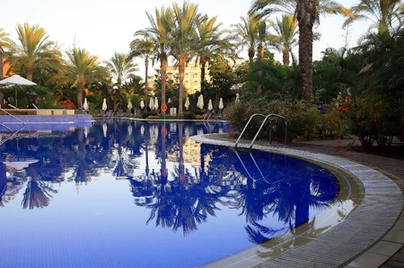 pricey: swiming pool at luxury village in spain with green palm
