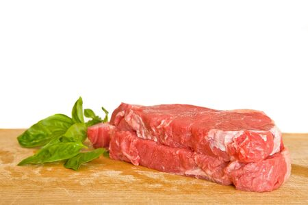 fresh and raw beef steak with green herbs Stock Photo - 2046355