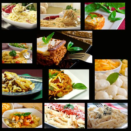 advertise: square italian food composition on black background
