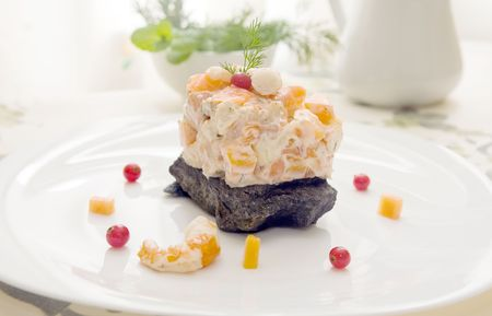 prawn and smoked salmon salad with dill sauce Stock Photo - 2361921