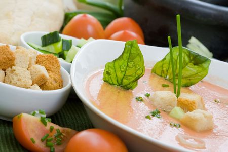 popular soup: Gazpacho is cold soup typical Spanish cream that is popular in warmer areas and during the summer. Andalusian food and drink Stock Photo