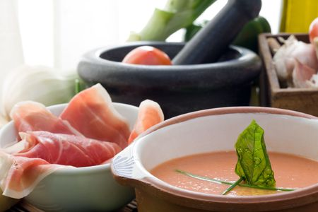 Gazpacho is cold soup typical Spanish cream that is popular in warmer areas and during the summer. Andalusian food and drink photo
