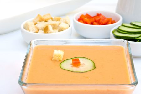 Gazpacho is cold soup typical Spanish cream that is popular in warmer areas and during the summer photo