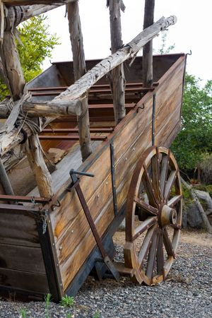 antique wood cart with big wheels on harvest Stock Photo - 3594869