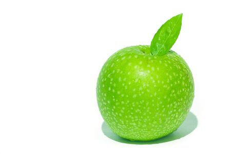 fresh green apple with green leaf and water drops Stock Photo - 3615844