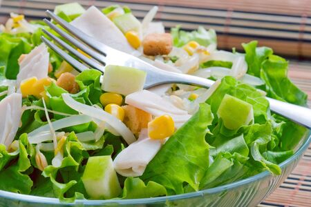 lettuce salad with sweet corn and turkey ham