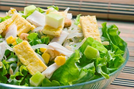 lettuce salad with sweet corn and turkey ham Stock Photo - 3694098