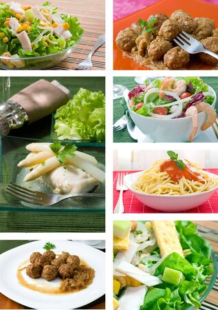Collage of food related pictures with salada fish meatballs and pasta photo