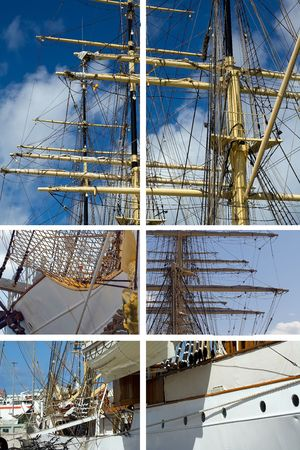 brigg: composition with parts of old tall ship